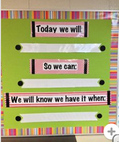 "Here is another way to incorporate learning targets and nailing the ""walk and talk""...maybe on bulletin boards in the gym?"