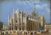 ציור של קתדרלת מילאנו מסוף ימי הביניים (סוף המאה השמונה עשרה בערך- אמצע המאה התשע עשרה)