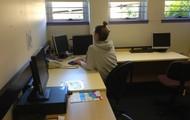 Teacher working without interruption