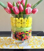 Tulip arrangement with bunnies and jelly beans