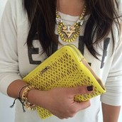 Perforated Double Clutch-Citrine $44.50