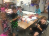 Building towers with pool noodles and toothpicks!