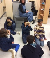 6th grade students using Google Cardboard