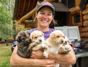 Ryne Olson and her puppies