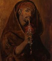 Tornai Gyula - The Moorish Smoker - Oil painting