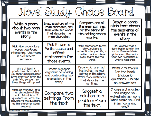 novel study essay rubric