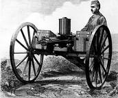 a drawing of Richard Gatling and his gun