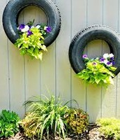 Use old tires as planters!