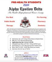 Pre-Health Students-Rush for Alpha Elsilon Delta