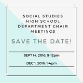 HS SS Dept Chair Meeting THIS WEEK!