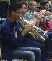 Jhosbel Polanco playing the Trumpet.