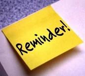 18 Week Student Reminder