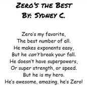 Sydney's Poem, Zero's the Best