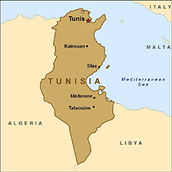 This is what the country Tunisia looks like. It has an area of 63,170 sq. mi. Tunisia is bordered by Algeria and Lybia.