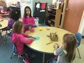 Using our homemade playdoh