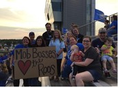 """Our awesome teachers representing the """"Mob Boss"""" section at Roo Football Games"""