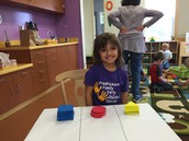 Amelia successfully sorted at the math table!