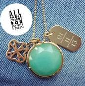Sentiment Stone locket, clover alphabet charm, and engravable ID tag!