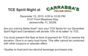 Tonight is Carrabba's Italian Grill (Baymeadows) Spirit Night