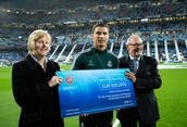 Here he is Donating 100,000 Euros to the Red cross