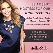 Host a Stella & Dot Trunk Show Featuring the new Spring 2014 Line and earn $50 in bonus Hostess Rewards! Plus be entered to win a treat from me!