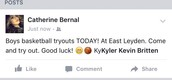 Facebook post about boys basketball tryouts