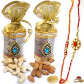 Rakhi with 500 Gms Dry Fruits in Pouch Packing