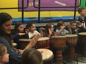 3rd grade drumming with Mrs. Thompson.
