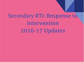 Secondary RtI Updates