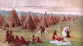 Their village with teepee houses