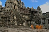 Monks inside temple