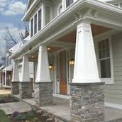 Columns with stone