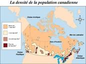 La densité de population au Canada