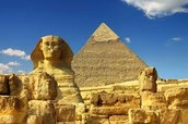 This is a picture of the great Sphinx and the Pyramid of Giza