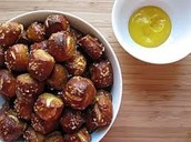 Pretzel Bites complemented with 100% real cheese!