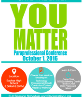 Paras don't forget to plan to attend this conference on October 1st to earn your flex day!
