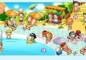 The children play in the swimming pool