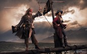 Johnny Depp as Jack Sparrow and Patti Smith as second pirate from Pirates of the Caribbean