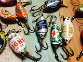 Recycled Beer Cap Fishing Lures.