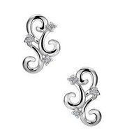 SILVER PLATED EARRING PAIR ADORNED WITH DIAMOND SPARKLING
