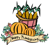 Thanksgiving Break - Monday thru Friday, November 23rd to November 27th
