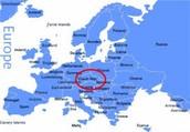 Czech Republic on a map of Europe
