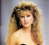 Big hair was very popular in this time period.