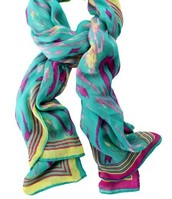 Turquoise ikat palm springs scarf