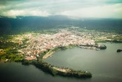 An aerial view of the capital, Malabo.