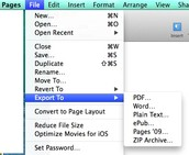 Exporting files from Pages, Keynote and Numbers