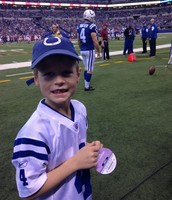 One of our classmates on the field at the Colt's game!!!!
