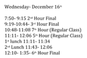 Wednesday's Final Schedule
