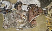 Alexander the Great, wearing armor picturing Medusa