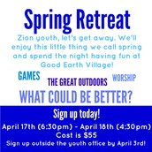 REGISTER SOON FOR THE SPRING RETREAT!